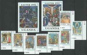 P1228 1992 UGANDA ART PAINTINGS EASTER 1992 #1074-81 MICHEL 38 EURO SET+2BL MNH