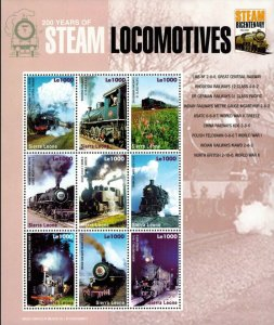 Sierra Leone MNH S/S 200 Years Of Steam Locomotives 9 Stamps Large Size
