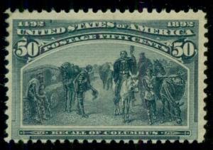 US #240 50¢ Columbian, og, LH, fresh and F/VF, Scott $500.00