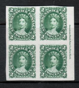 New Brunswick #7TCi Very Fine Proof Block In Dark Green Showing Full ABN Imprint