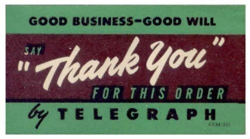 US - Western Union 'Say Thank You' Telegraph Poster Stamp