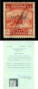 EL SALVADOR 1927 OFFICIALS  Gymnasium 2c red Sc# O353 used INVERTED ovpt. w/Cert