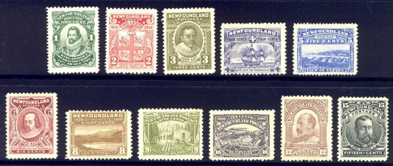 NEWFOUNDLAND #87-97 Mint - 1910 Tercentenary Set