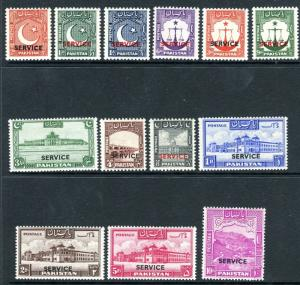 PAKISTAN-1948-54  A lightly mounted mint Service set of 14 values Sg O14-26