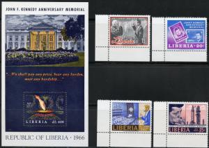 LIBERIA JOHN F. KENNEDY MEMORIAL SET AND SOUVENIR SHEET MINT NEVER HINGED