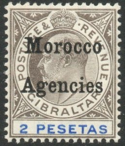 MOROCCO AGENCIES-1905 2p Black & Blue Sg 30 LIGHTLY MOUNTED MINT V46466