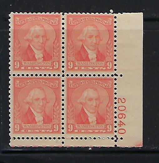 US #714 1932 WASHINGTON ISSUE 9C (PALE RED) -PLATE# BLOCK OF 4 -MINT NEVER HIGED
