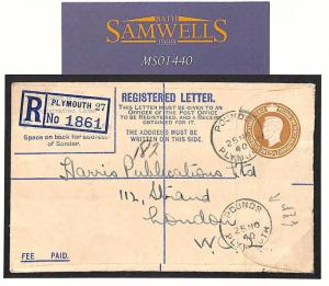 MS1440 1940 WW2 GB DEVON *Pounds* Plymouth Sub-Office Registered Cover London