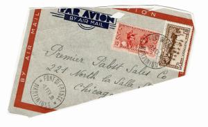 Martinique 1939 Partial Airmail Cover to USA / Pasted to Album Page - Z155