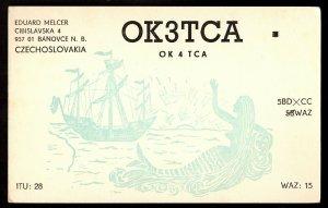 QSL QSO RADIO CARD Mermaid Waving To Ship,Eduard Melcer, Czechoslovakia(Q2883)