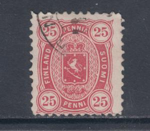 Finland Sc 22a used 1882 25p rose Coat of Arms, tiny thin, F-VF appearing