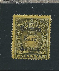 BRITISH EAST AFRICA 1895 2½a BLACK/BRIGHT YELLOW MM SG 36 CAT £200