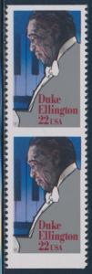 #2211a 22c ELLINGTON VERTICAL PAIR IMPERF HORIZ MAJOR ERROR W/ PSE CERT HW4205
