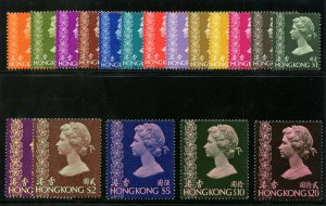 Hong Kong 1975 QEII complete set superb MNH. SG 311-324e.