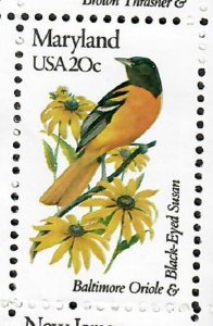 1972 Maryland Birds and Flowers MNH single  perf 10.5 x 11.25
