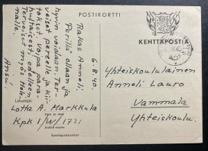 1940 Finland Censored Kenttapost Field Post Army Postcard Cover To Vammala