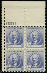 US #887 PLATE BLOCK, SUPERB mint never hinged, 5c French, very well centered,...