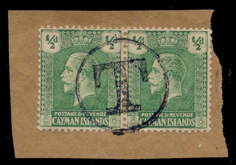 Cayman Islands 1921 1/2d Pair with 'T' Postage Due Strike in Black on Piece