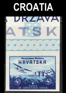 Croatia Scott B10 IMPERFORATED F to VF mint OG NH with imprint.