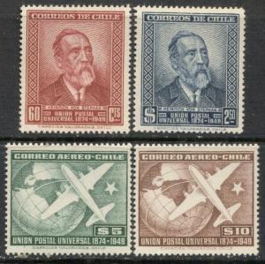 CHILE - UPU:  1950 MNH Complete Set; Sc 260-261, C129-130