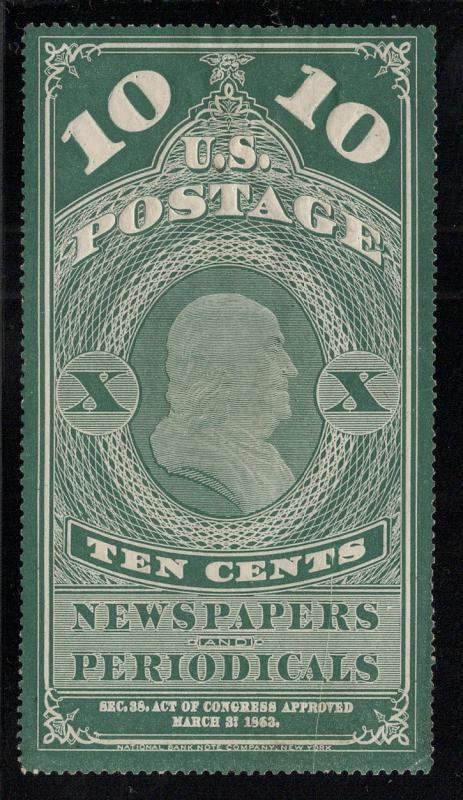 PR6 Dark Bluish Green - 10 Cents Newspaper Stamp - Unused