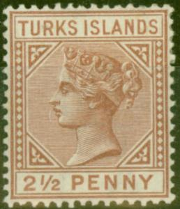 Turks & Caicos Is 1882 2 1/2d Red-Brown SG56 Fine Mtd Mint