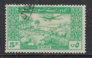 Syria C125 Used 1946 issue   paper remnant on back (ap6863)