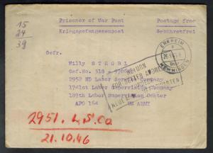 1945 Erkheim Germany to USA Army POW Camp Cover Prisoner of War APO 164 Returned