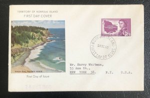 Norfolk island 1960 FDC first Day Cover QEii Local Goverment Map Topic