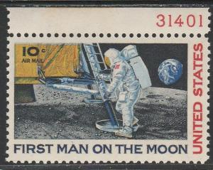 C76 - .10  First Man on the Moon plate # single mnh vf.