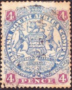 RHODESIA - BRITISH SOUTH AFRICA CO 1896 QV 4d Blue & Mauve SG32b Used