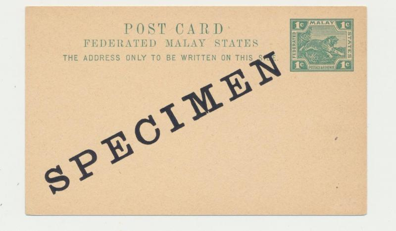 MALAYA -FEDERATED STATES 1897 1c SPECIMEN CARD,UNUSED,H&G1(SEE BELOW