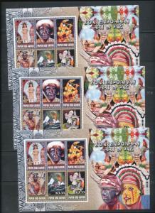 PAPUA NEW GUINEA 2007 Art Tribesmen Masks Python MNH Sheet x 3(PAP 187)