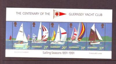 Guernsey Sc 463a 1991 Yacht Club stamp sheet mint NH