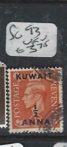 KUWAIT   (P2804B) ON   GB  KGVI   1/2A/1/2D  SG 93   VFU