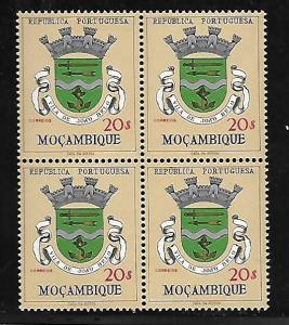 MOZAMBIQUE 422 MNH COAT OF ARMS, BLOCK OF 4