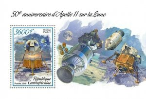 HERRICKSTAMP NEW ISSUES CENTRAL AFRICA Apollo 11 S/S