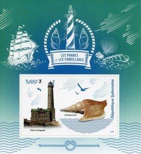 Gabon Stamps 2019 MNH Lighthouses & Seashells Shells Architecture Marine 1v S/S