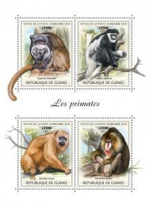 GUINEA - 2018 - Primates - Perf 4v Sheet - MNH