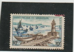 St. Pierre & Miquelon  Scott#  355  Used  (1957 Lighthouse and Fishing Pier)