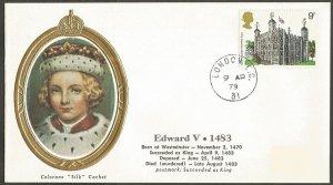 EDWARD V 1979 GREAT BRITAIN 9p STAMP COLORANO SILK CACHET