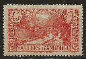Andorra (French)  (1932)  - Scott # 35,   MH