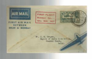 1937 Bombay to Delhi India First FLight Cover FFC ATA Airmail