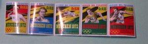 Paraguay - 1325 a-e, Strip of 5, MNH Set. Munich Olympics. SCV - $6.00