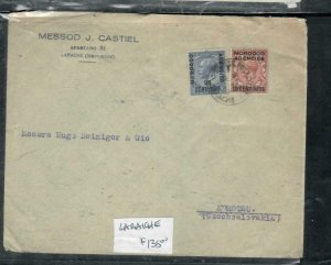 MOROCCO COVER (PP2912B) 1933 KGV 2 STAMP COVER LARACHE TO CZECHOSLOVAKIA