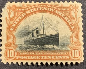 299 MLH OG - Large Thin. 1901 10¢ Pan-American Exposition: Fast Ocean Navigatio