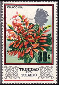 Trinidad & Tobago # 154 used ~  30¢ Wild Poinsettia Flowers