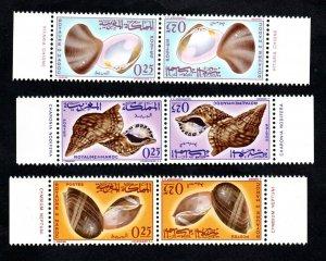 1965 - Morocco-  Seashells- Pair- Heads-spades- Têtes- bêches-Complete set MNH**