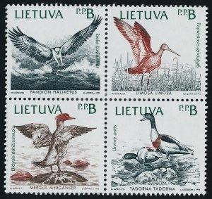 Lithuania 430a block MNH Birds of teh Baltic Shores, Ducks