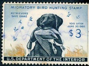 #RW26 – 1959 $3.00 Dog & Mallard. Used.